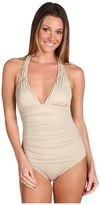 DKNY Shirred Solids Halter Maillot One Piece (Biscuit) - Apparel