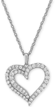 """Forever Grown Diamonds Lab Created Diamond Heart 18"""" Pendant Necklace (3/4 ct. t.w.) in Sterling Silver"""