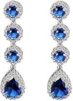 clear Lavencious Tear Drop Round Dangle Earrings AAA CZ Jewelry Wedding Party Prom Rhodium Plated Silver Tone