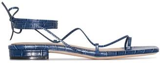 Studio Amelia Crocodile-Effect Strappy Sandals