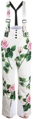 Dolce & Gabbana tropical rose print ski trousers