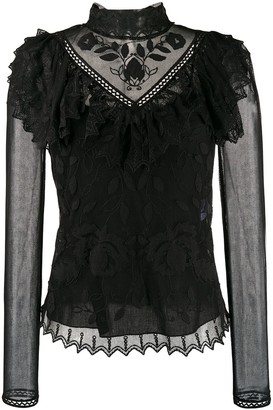 See by Chloe High-Neck Embroidered Blouse