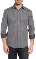 Bugatchi Shaped Fit Windowpane Sport Shirt
