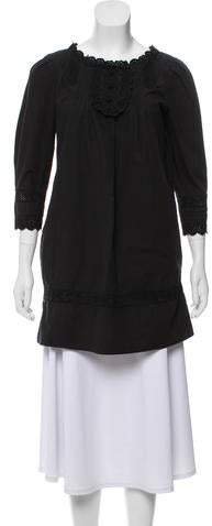 See by Chloe Eyelet-Trimmed Long Sleeve Tunic