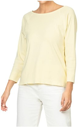 Lilla P 3/4 Sleeve Boatneck in 100% Cotton (Cloud) Women's Clothing