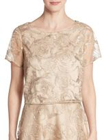 Kay Unger Sequin Embroidered Cropped Top