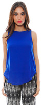 Haute Hippie Sleeveless Blouse with Cowl Back in Cobalt Blue