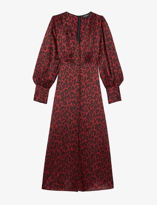 The Kooples Leopard-print silk-blend midi dress
