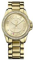 Juicy Couture Stella Women's Quartz Watch with Gold Dial Analogue Display and Gold Rose Gold Bracelet 1901076