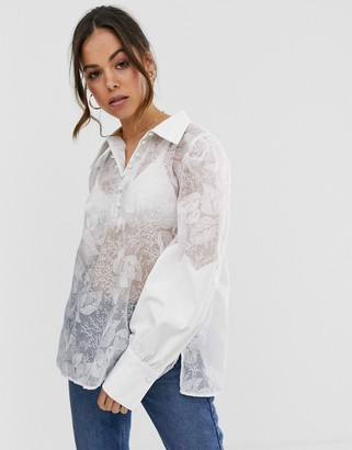 GHOSPELL oversized shirt in mesh with floral embroidery-White