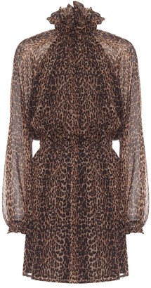 Saint Laurent Leopard-print wool minidress