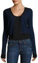 Diane von Furstenberg Checkered Cropped Cardigan