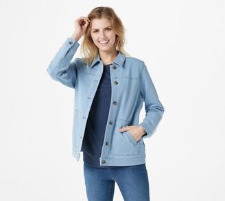 Denim & Co. Comfy Knit Denim Jacket with Patch Pockets