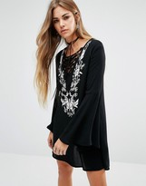 LIRA Tie Up Front Boho Dress With Embroiderey Detail