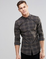 Asos Skinny Shirt In Khaki Check With Long Sleeves