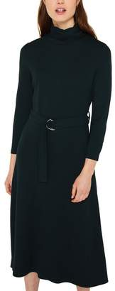 Esprit Womens Midi Knitted Dress With Belt And Roll Neck - Green