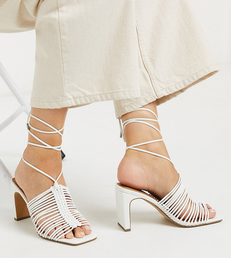 ASOS DESIGN Wide Fit Halo plaited mid-heeled sandals in white