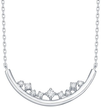 Lab Grown Diamond Smile Necklace, 1/10 Ctw 14K Solid Gold by Smiling Rocks
