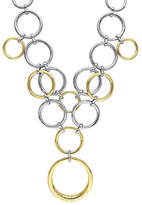 Catherine Malandrino 18K Goldplated and Sterling Silver 0.25TCW Diamonds Circle Linked Cluster Drop Necklace