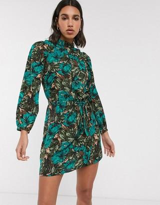 Vero Moda mini dress with pleat detail in floral print