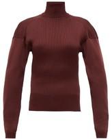 Bottega Veneta Cut-out Roll-neck Ribbed Silk Sweater - Womens - Burgundy