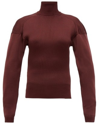 Bottega Veneta Cut-out Roll-neck Ribbed Silk Sweater - Burgundy