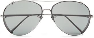 Linda Farrow Aviator-style Silver-tone And Titanium Sunglasses