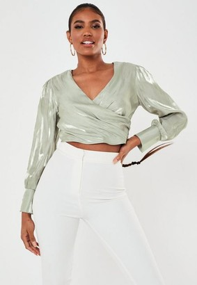 Missguided Crinkle Satin Wrap Front Blouse