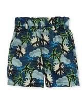 Stella McCartney Lucas Cotton Hawaiian Shorts, Blue, Size 12-24 Months