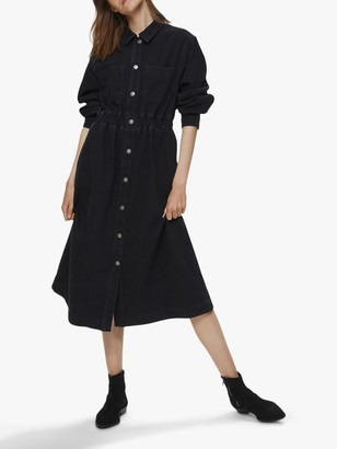 Selected Ally Denim Midi Shirt Dress, Black