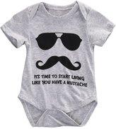 BiggerStore Newborn Baby Girls Boys Mustache Printing Short Sleeve Bodysuit Hipster Baby Outfit