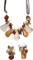 MIXIT 2-pc. Brown & Cream Shell Cluster Necklace & Earrings Jewelry Set