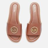 MICHAEL Michael Kors Women's Brynn Leather Slide Sandals - Luggage