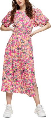 Topshop Floral Print Bubble Sleeve Midi Dress