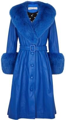Saks Potts Foxy blue fur-trimmed leather coat