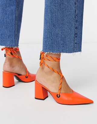 ASOS DESIGN Seeker tie leg mid heels in neon orange