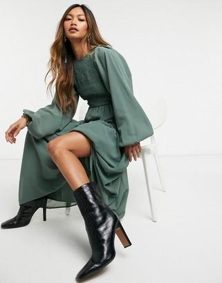 ASOS DESIGN Shirred bodice maxi dress in khaki