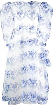 Simone Rocha Tulle Overlay Pouf Sleeve Midi Dress