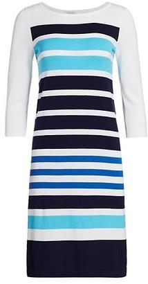 Joan Vass Petite Stripe Cotton Sweater Dress