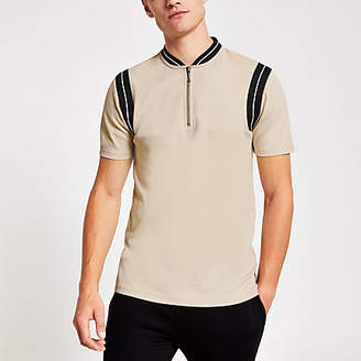 River Island Stone ribbed zip neck slim fit polo shirt