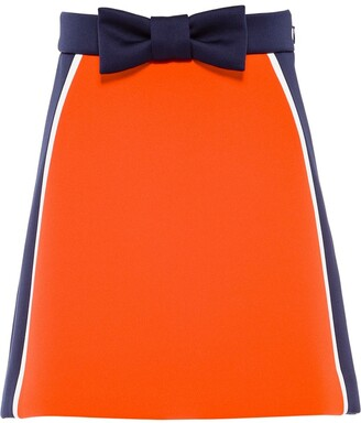 Miu Miu Bow-Detail Colour-Block Skirt