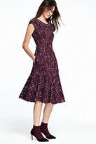 Lands' End Women's Petite Cap Sleeve Tweed Flounce Dress-Burgundy Tweed