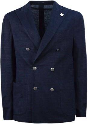 Lardini Blue Linen, Cotton And Silk Jacket