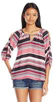 Amy Byer A. Byer Junior's Printed Split Sleeve Top with Keyhole
