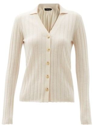 Lisa Yang - Indya Point-collar Ribbed-cashmere Cardigan - Cream