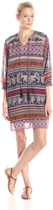 Amy Byer Women's Bohemian Chic Trapeze Dress with Tie Neck