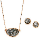 pannee Gold-Tone Textured Earrings & Necklace Set