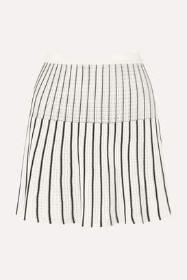 Sonia Rykiel Striped Ribbed-knit Cotton-blend Mini Skirt - White