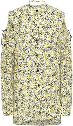 Joseph Ripley Cold-shoulder Cutout Floral-print Silk Shirt