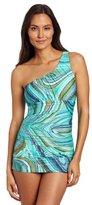 Jantzen Women's Tribal DOTS Asymmetric Swim Dress